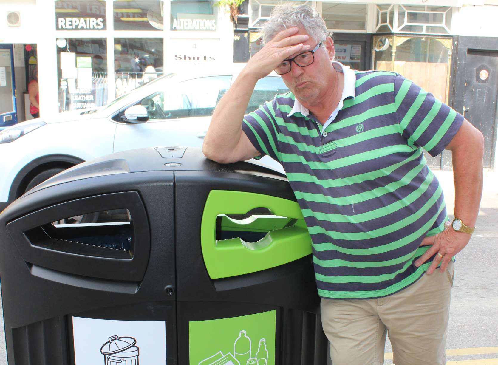 Fed up: Brian Spoor and one of the new bins.