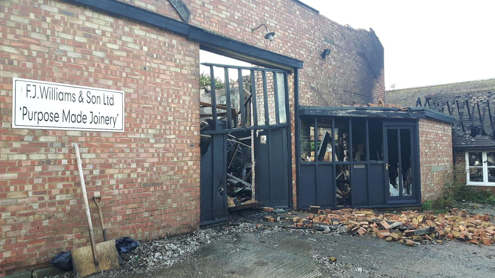 Gutted: the remains of the FJ Williams joinery workshop in London Road, Teynham, after the fire