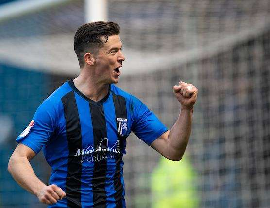 Callum Reilly celebrates scoring for Gillingham from the penalty spot Picture: Ady Kerry (6206644)