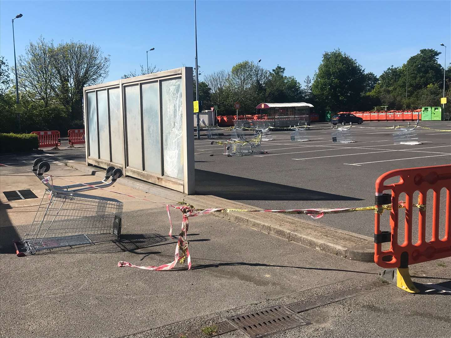 Trolleys have been used to block a sinkhole in Sainsbury's car park in Aylesford (10360995)