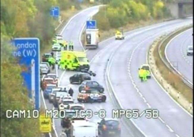 Emergency services at the scene. Picture: Highways England (17218416)
