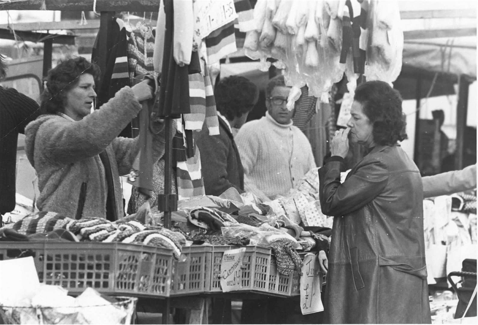 Folkestone market has a long history in the town. Pictured in October 1974