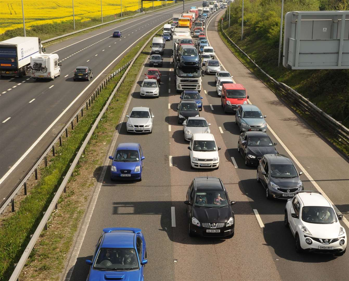 There were huge delays on the M2 and the A2 at the weekend