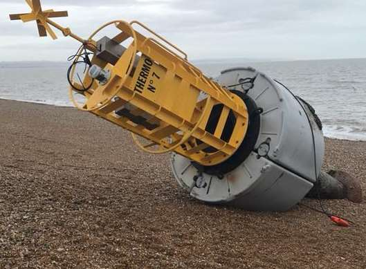 The buoy that was washed up on the beach