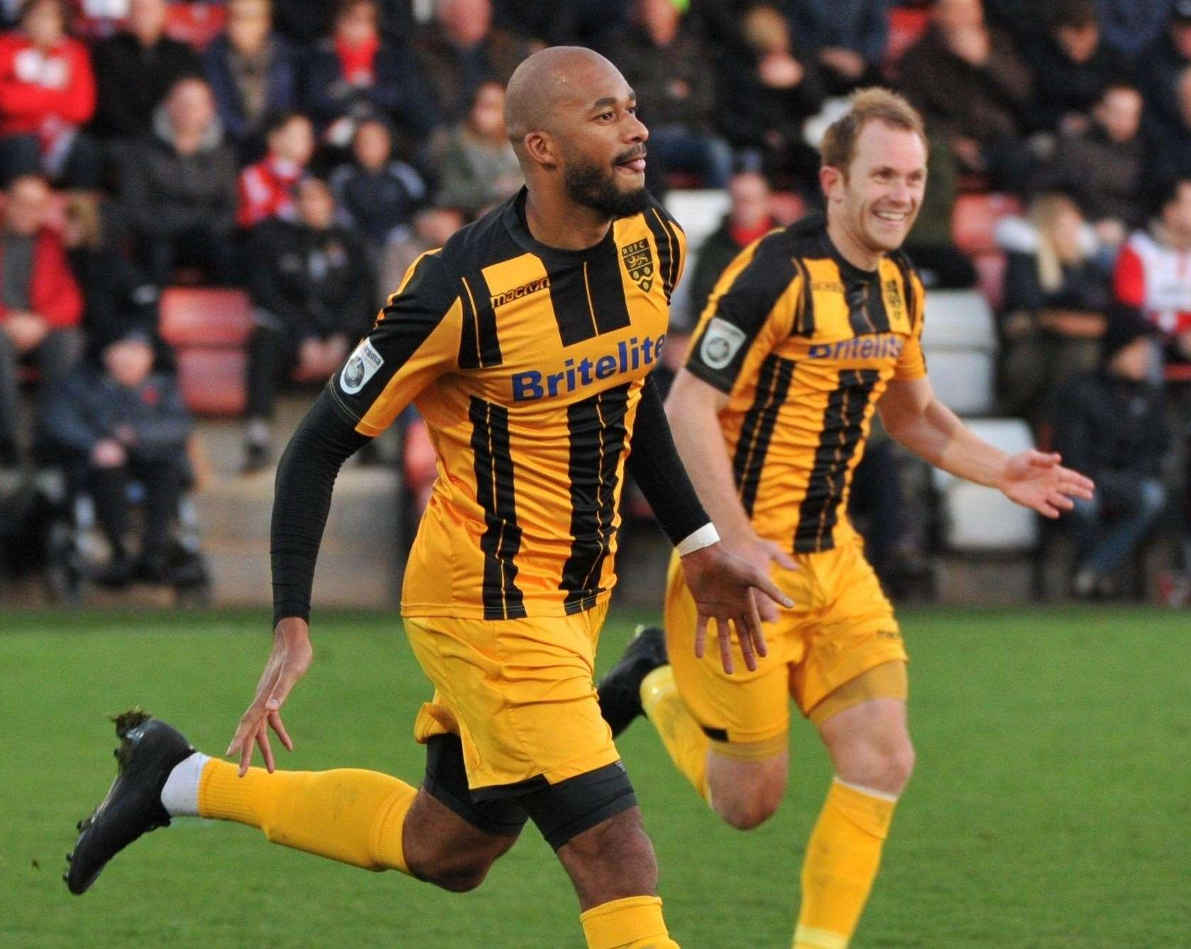 Delano Sam-Yorke celebrates his second goal in Maidstone's FA Cup win at Chelmsford in 2017 Picture: Steve Terrell