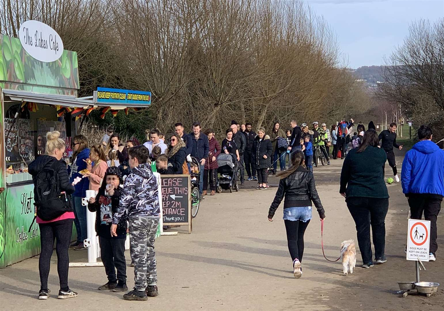 Visitors queued at the burger van at Leybourne Lakes Country Park in the warmer weather. Picture: Leigh Holmes
