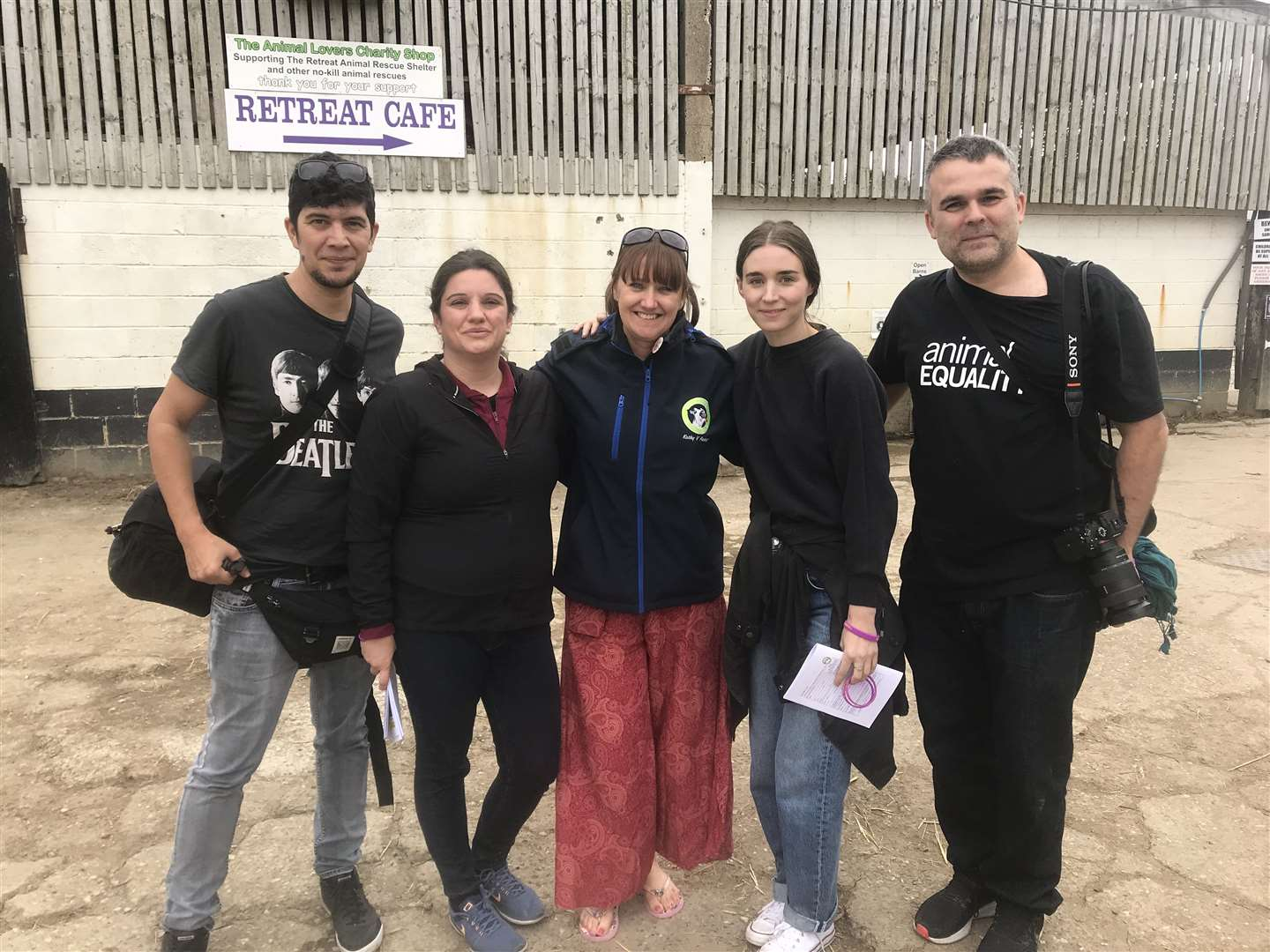 Rooney Mara (second right) picture with her team and The Retreat staff