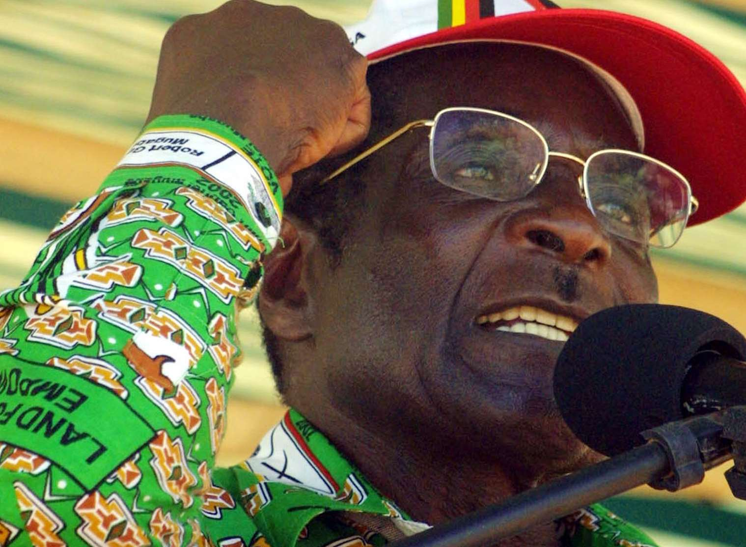 Former Zimbabwean President Robert Mugabe at an election rally in 2002. Picture: AP Photo/str