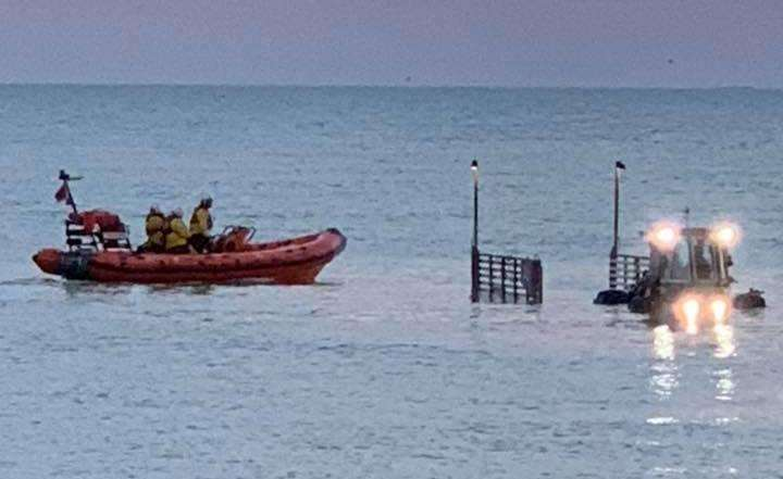 The rescue off of Littlestone. Picture: Dungeness Coastguard