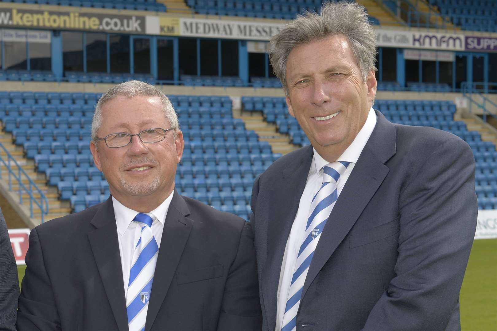 Gillingham chairman Paul Scally with director Michael Anderson