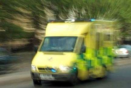 An ambulance responds to an emergency. Stock picture