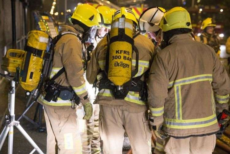 Fire crews were called the building in Marden. Stock image