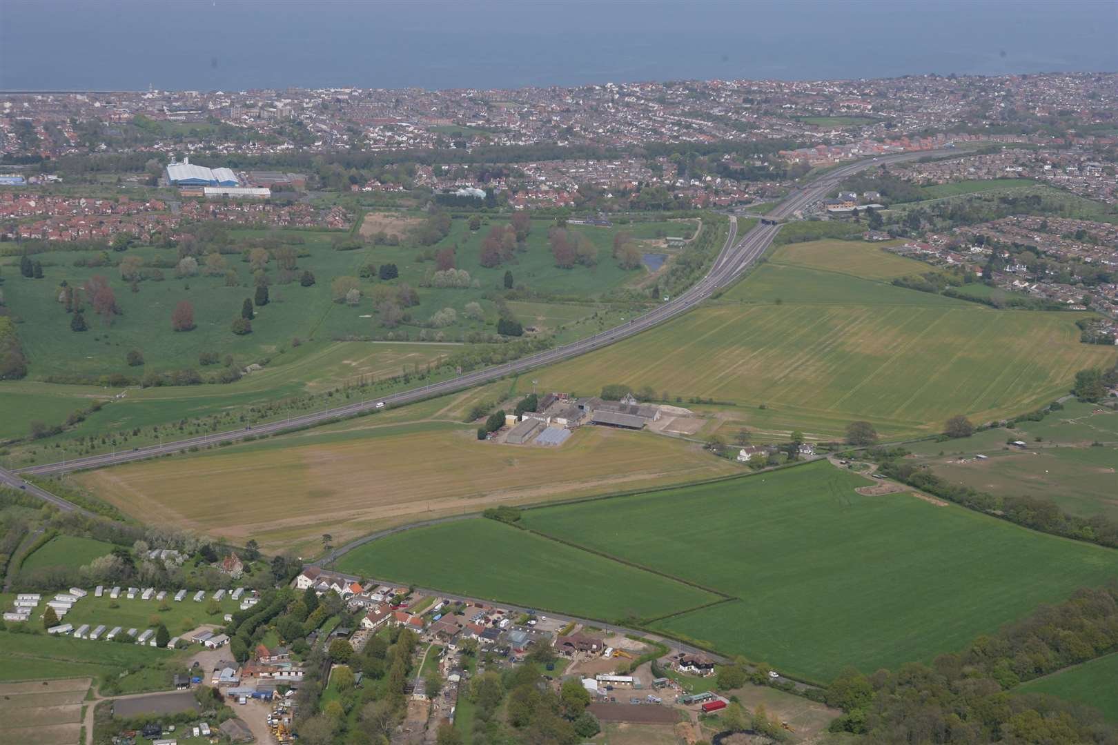 An aerial view of Strode Farm. Picture: Martin Apps
