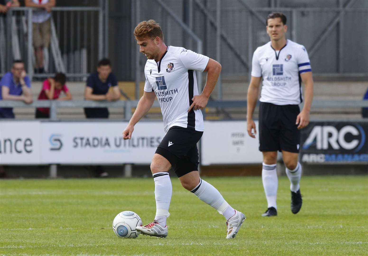 Sam Blackman was stretchered off playing for Dartford against Bromley Picture: Andy Jones