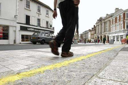 Yellow Line U Turn Over Maidstone High Street Crazy Paving