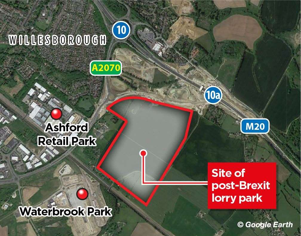 Where the post-Brexit lorry park will go in Ashford