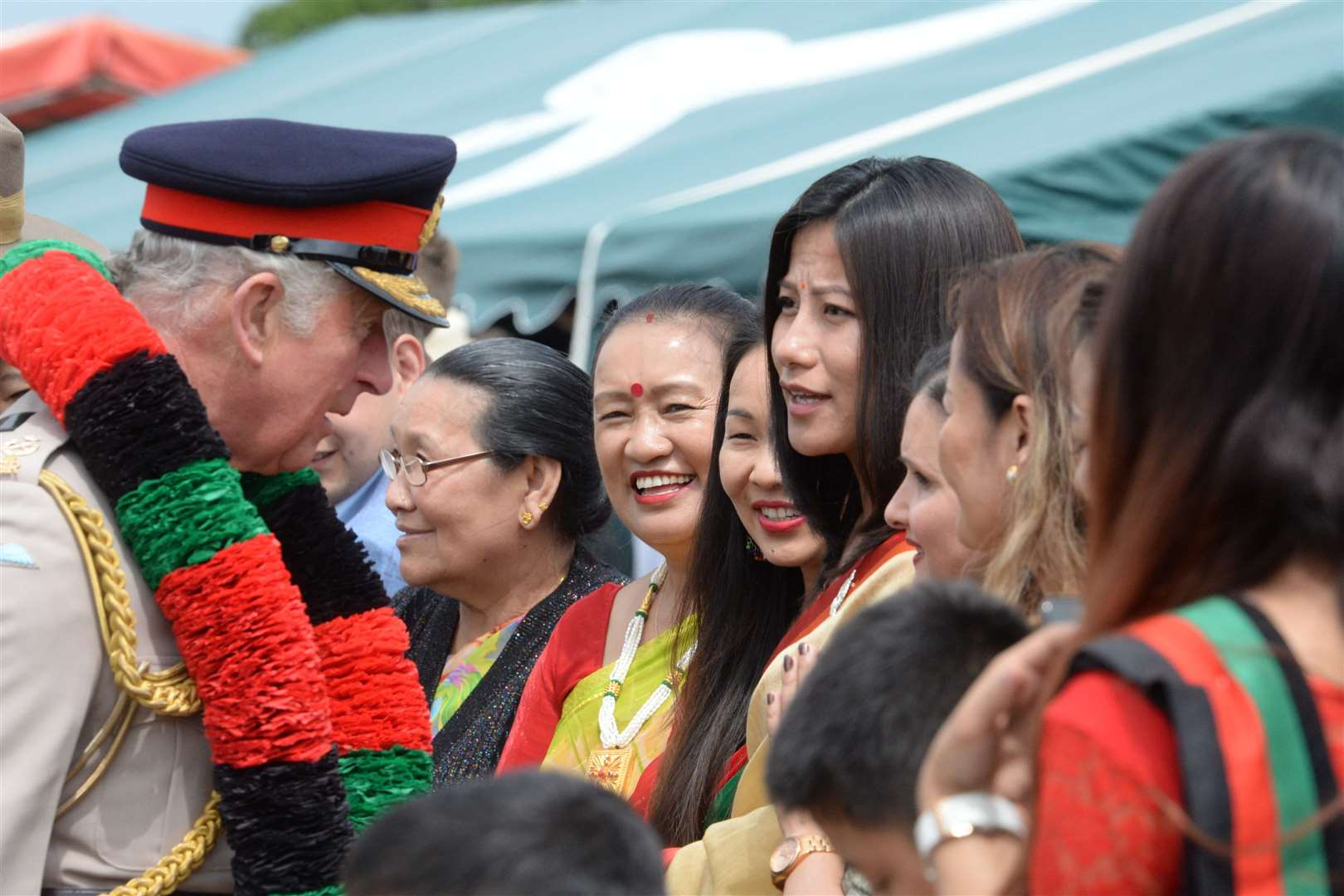 Prince Charles meets families of The 1st Battalion The Royal Gurkha Rifles. Picture: Chris Davey