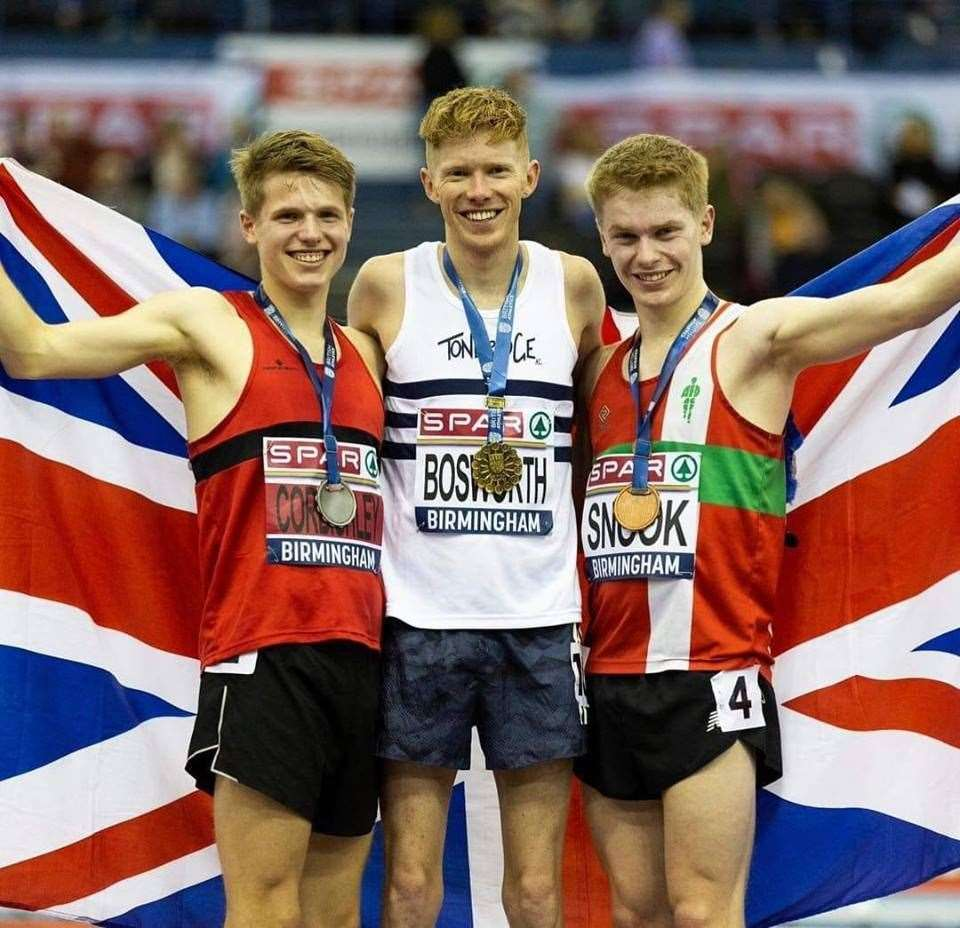 Tonbridge athlete Tom Bosworth won 5000mW gold at the the British Indoor Championships in Birmingham last month