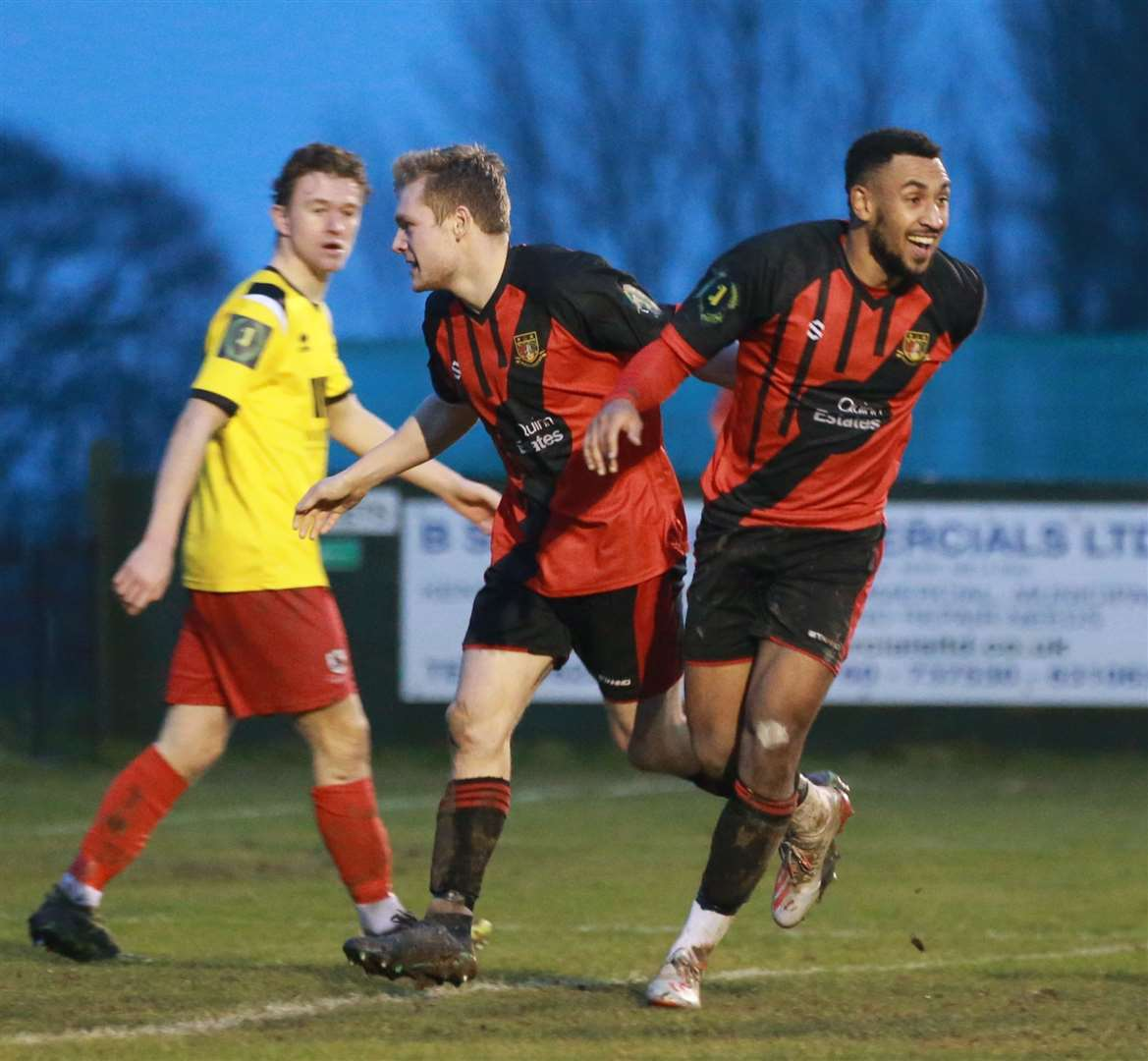 Johan Caney-Bryan celebrates one of his two goals for Sittingbourne against Ramsgate Picture: John Westhrop