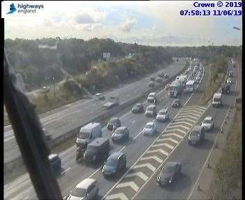 Traffic on the London-bound A2. Picture: Highways England (12131679)
