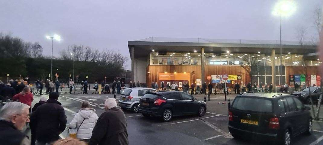 The queue at 5.50am outside Sainsbury's in Ashford. Picture: Simon Higgins