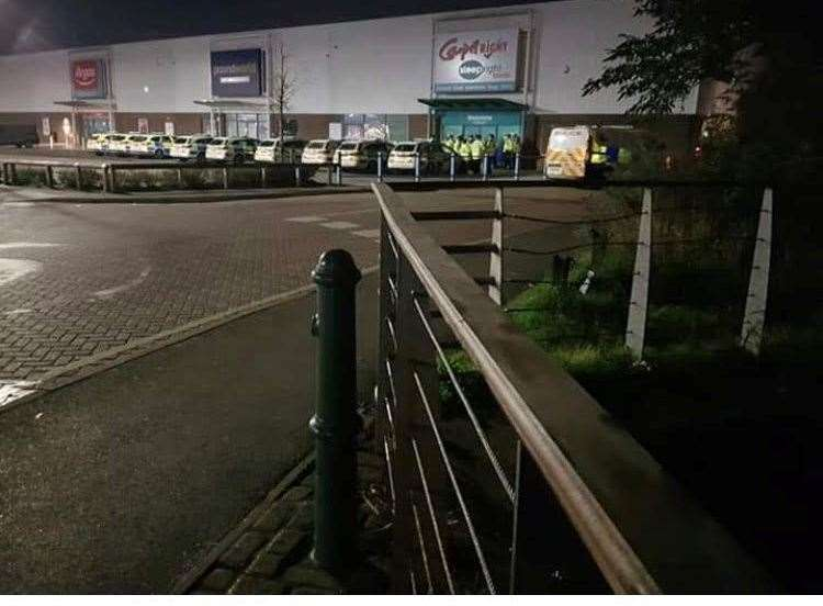 Police outside Carpetright in Strood Retail Park last November. Picture: Luke Foster