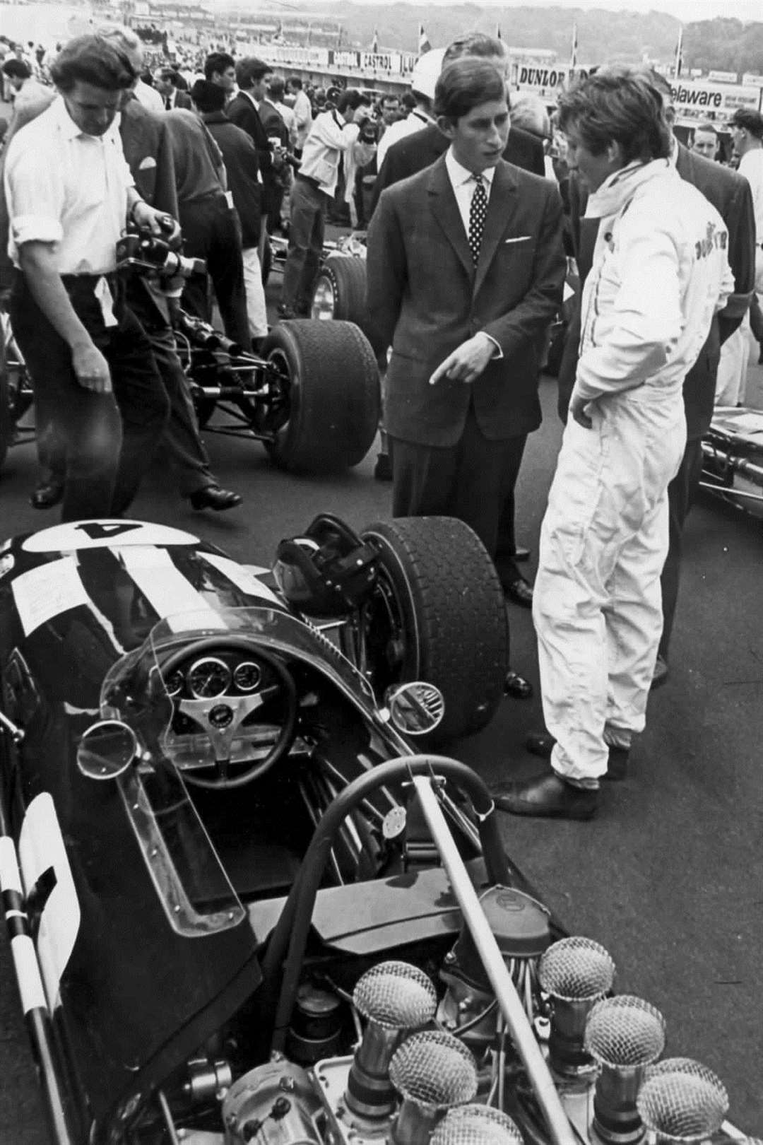 Prince Charles on a visit to Brands Hatch in 1968. Also on the visit were the Duke of Kent and Lord Mountbatten, the chairman of the RAC
