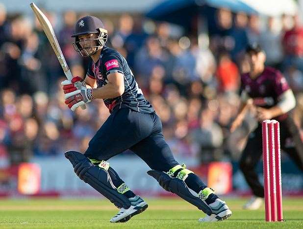 Ollie Robinson made a half-century on his T20 debut for Kent Spitfires against Somerset. Picture: Ady Kerry