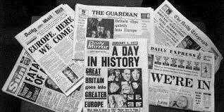 Headline news: How the national newspapers reported the result of 1975 referendum. Archive picture