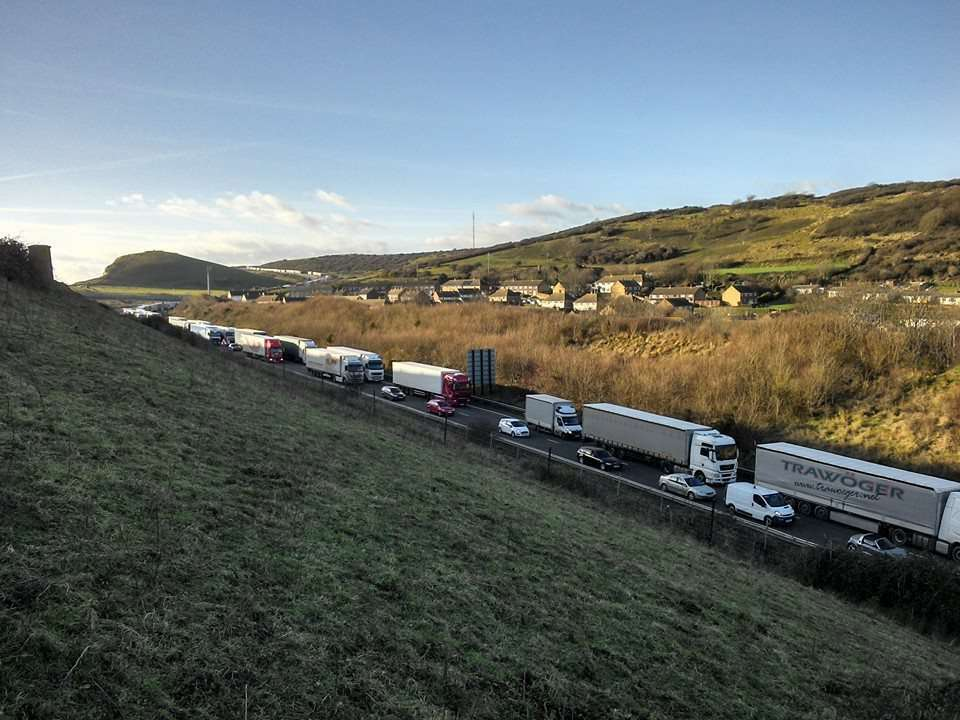 Archive scene of Dover-bound traffic stuck along the A20. Picture: Paul Wells