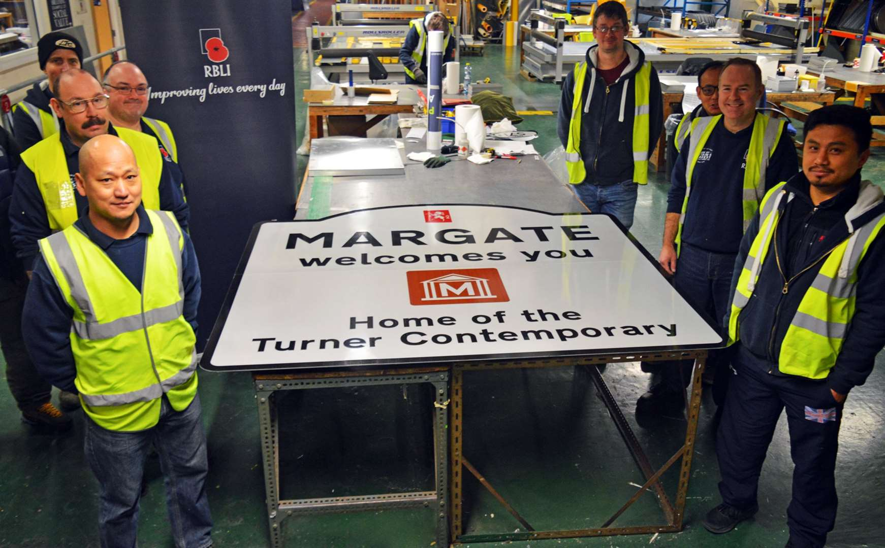 The sign welcoming visitors to Margate, created by employees at Royal British Legion Industries' factory in Aylesford (8614149)