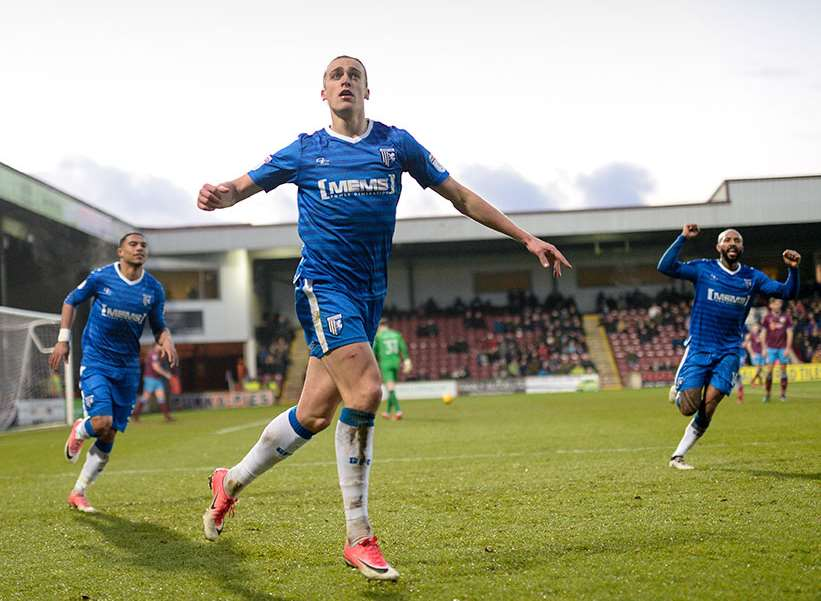 Tom Eaves celebrates his goal at Scunthorpe Picture: Ady Kerry