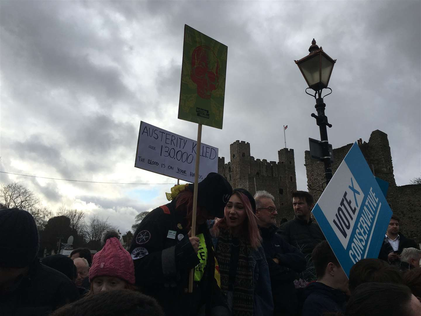 Opponents were among the crowds with Conservative campaigners