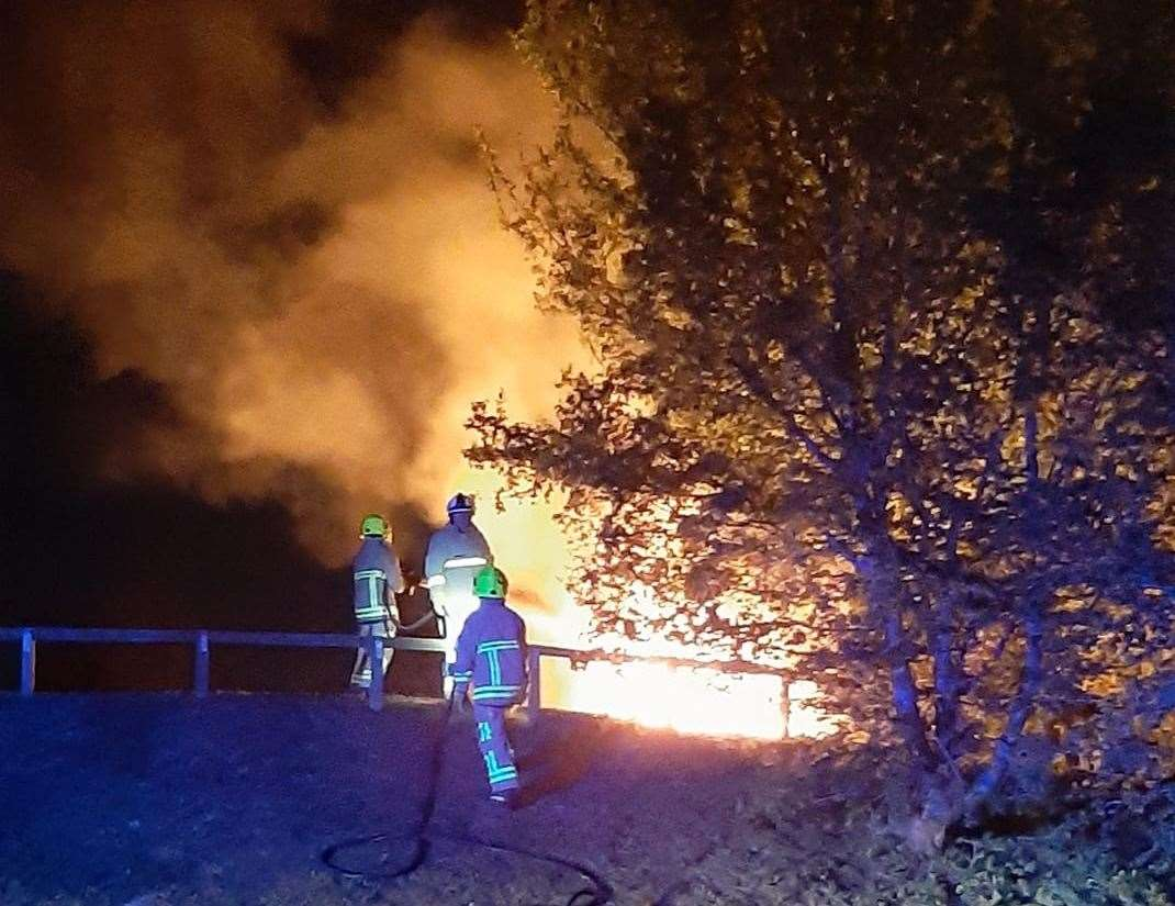 Fire crews were also called out Saturday night after a picnic table was set alight. Photo credit: Kazumi Photography