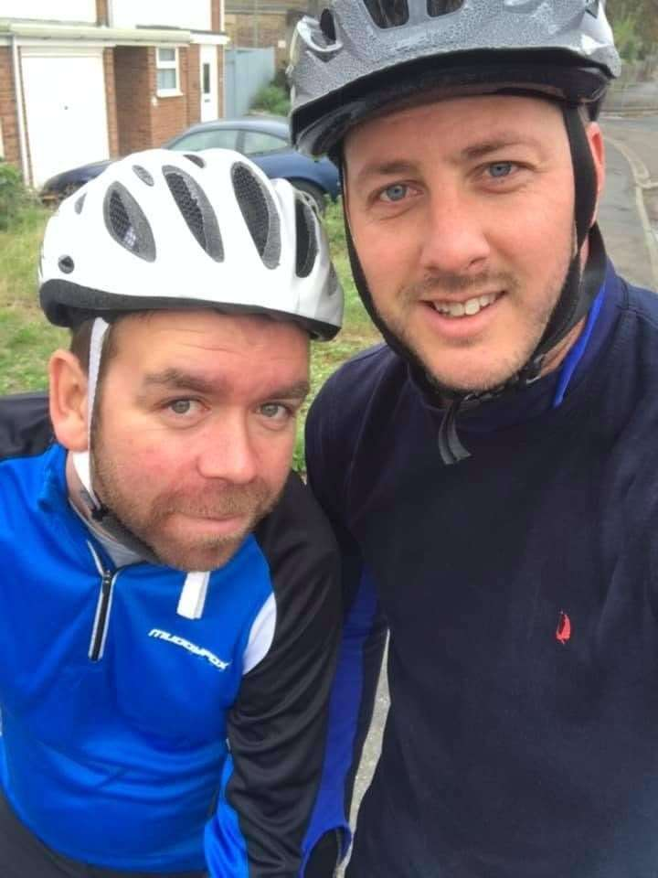On their bike: Pals Stewart Brown and Scott Jackson are ready for the challenge in May. (Pictures taken on a bike ride before lockdown)