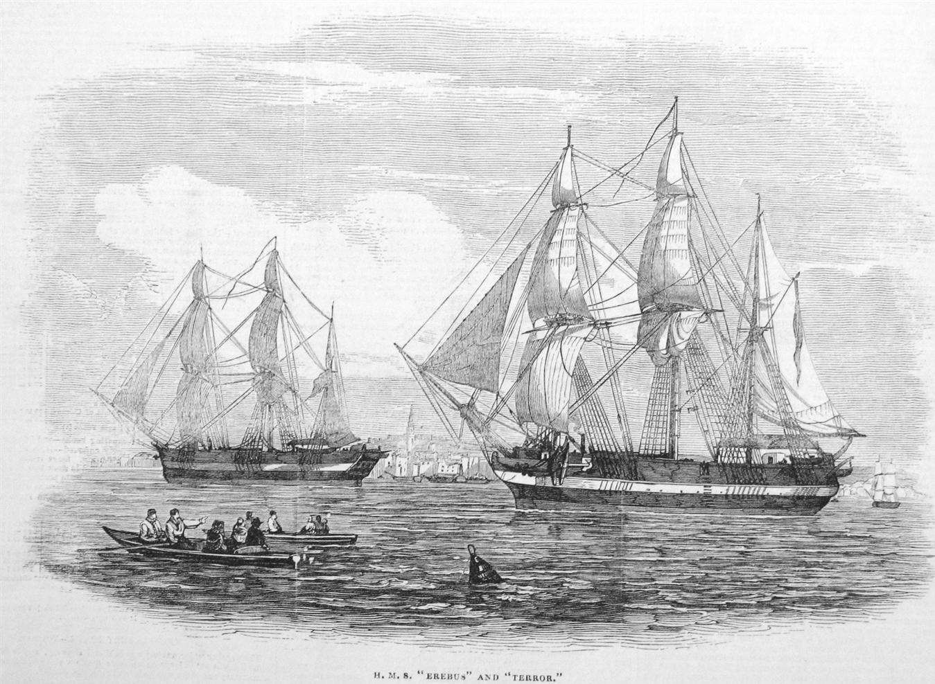 The Terror and the Erebus were used for 129 men to chart the Northwest Passage