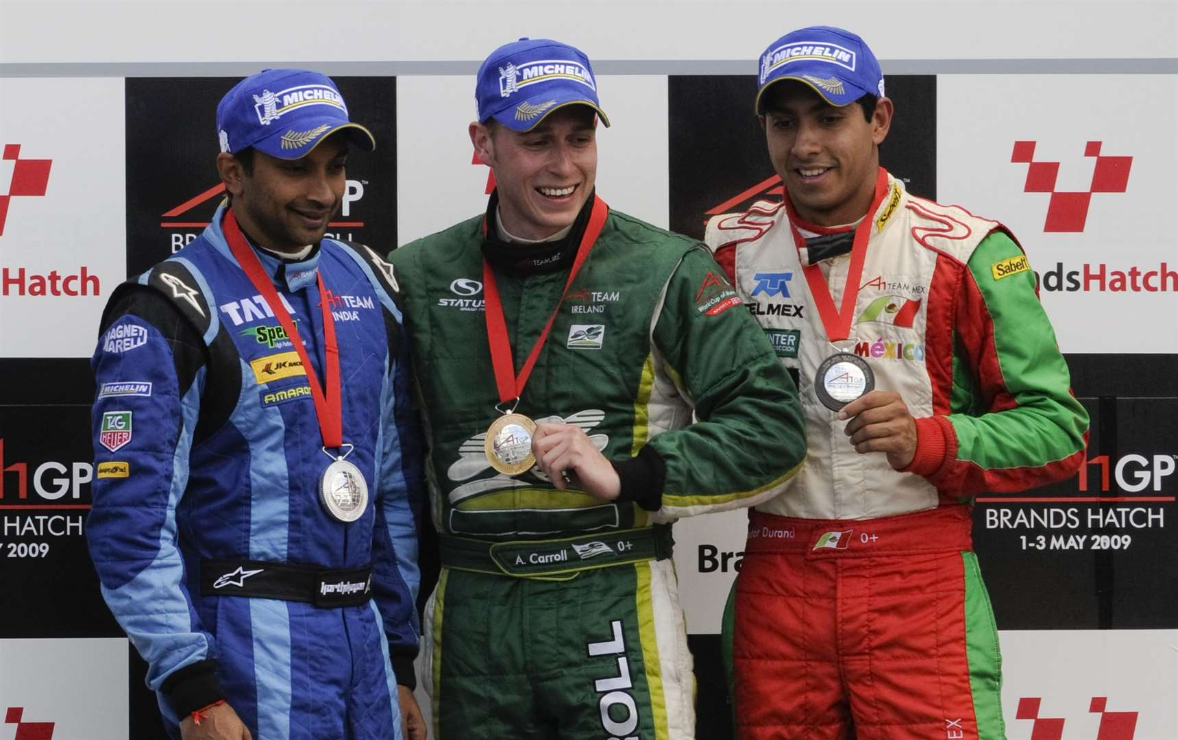 The sprint race podium in May 2009 - Narain Karthikeyan, winner Adam Carroll and Salvador Duran. Picture: Andy Payton