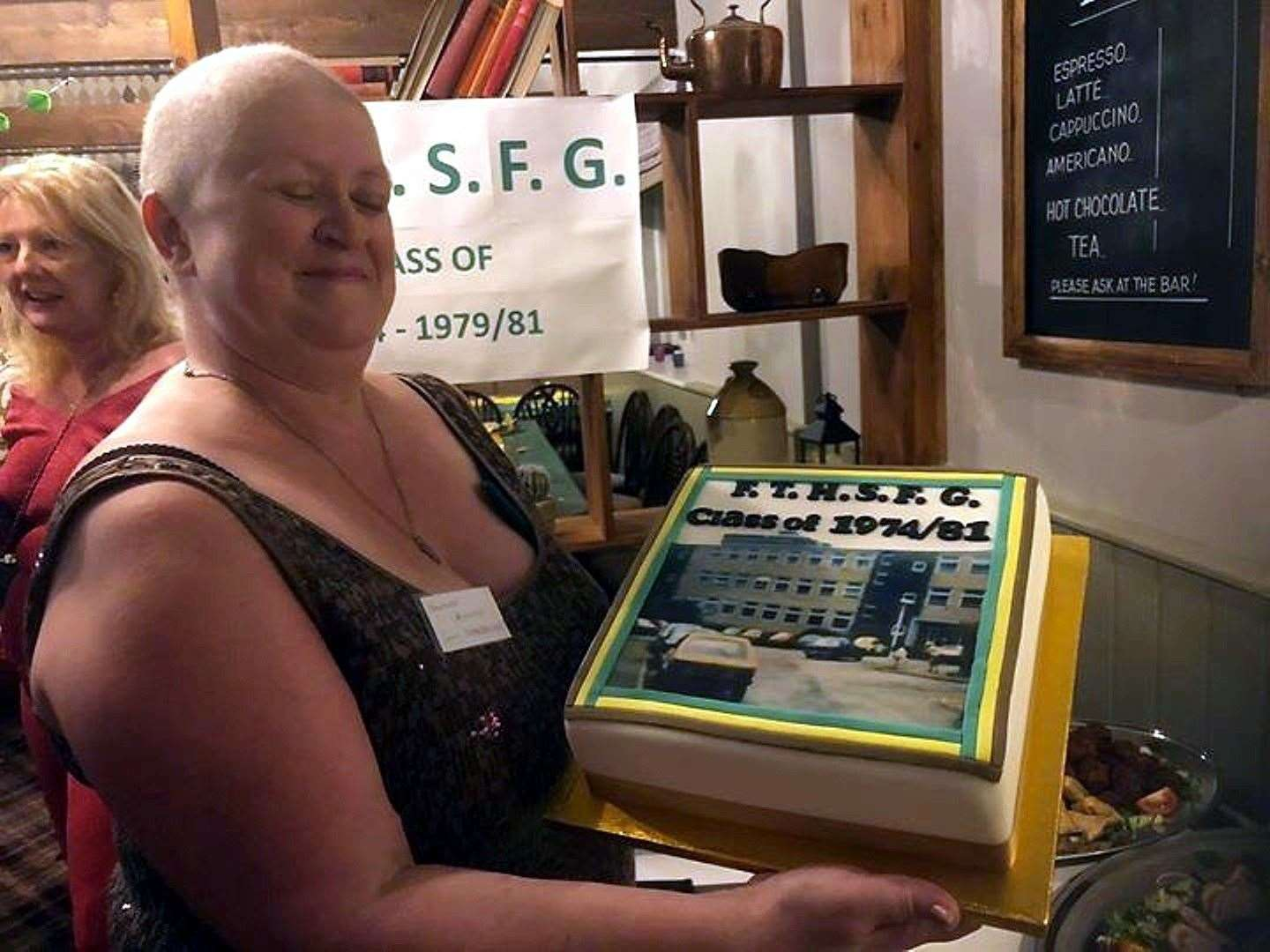 Amanda Richie with the cake specially made for the school reunion she helped organise