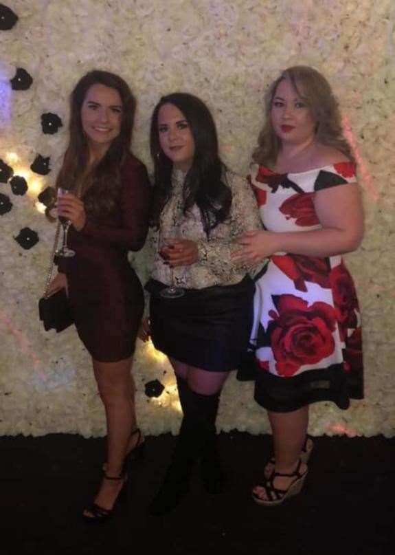 The couple's daughters, from left to right, Lauren, Kirsty, and Rebecca at her engagement party