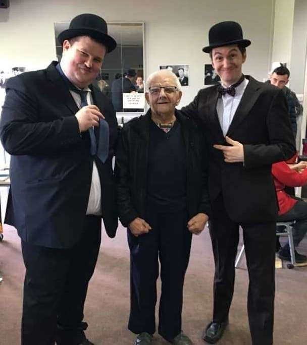 Super fan Ken Wallin at a Laurel and Hardy convention with impersonators