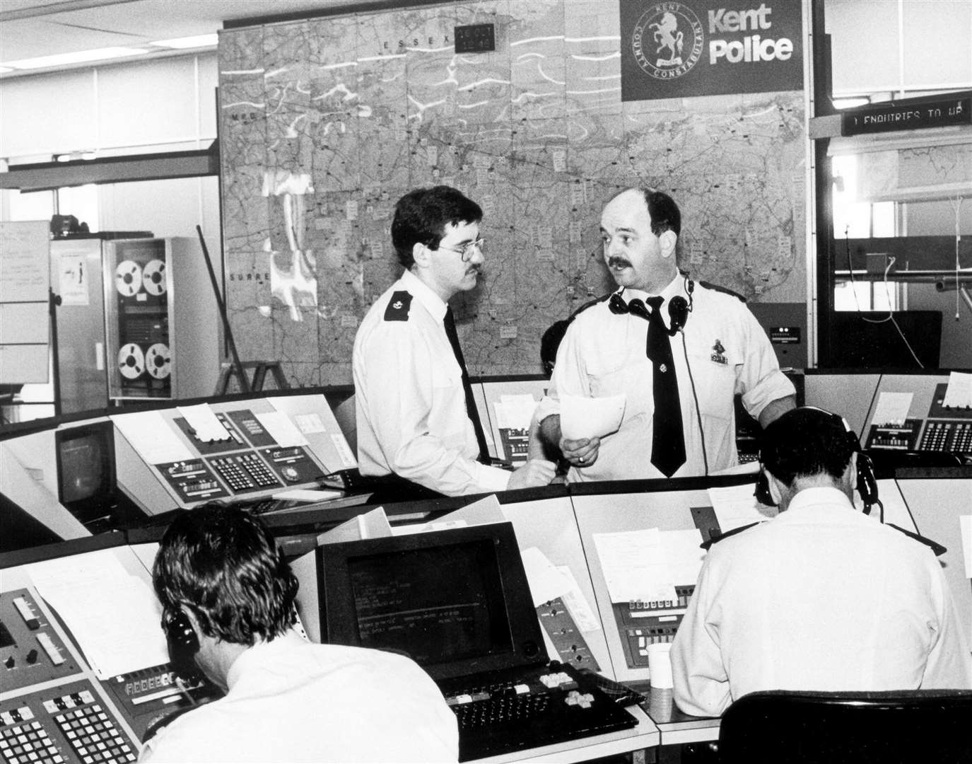 A control room in the Kent Police headquarters in 1987