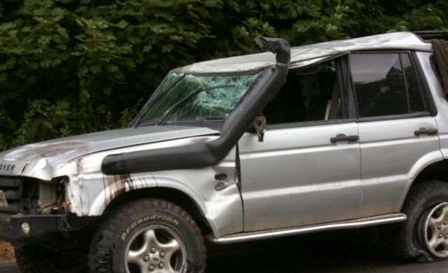 This vehicle was damaged in the crash on the M2 near Faversham. Picture: UKNiP