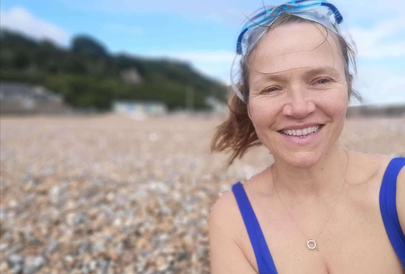Actress and swimmer Jessica Hynes, who lives in Folkestone, will swim from Hythe to Sunny Sands beach this weekend. Picture: Raga Gibreel
