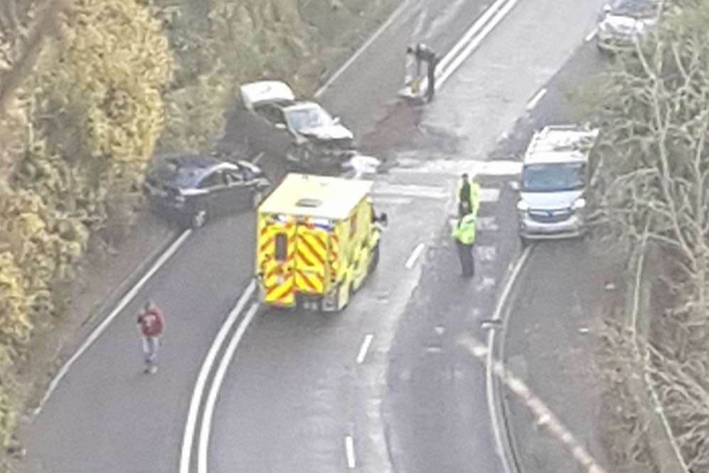 Canterbury Road has been closed near Folkestone after a crash. Picture: Chloe-Jade Graham