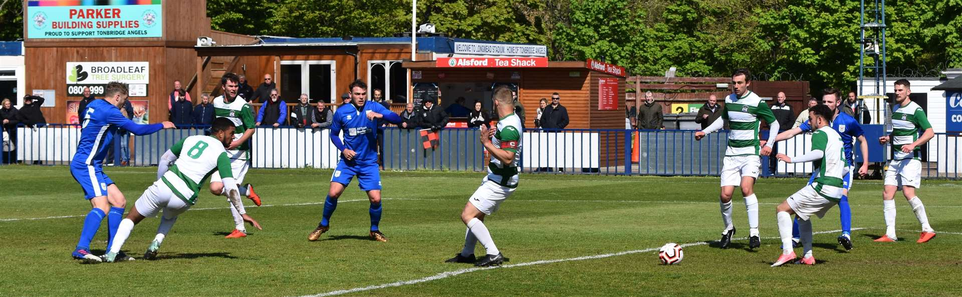 Richard Avery fires home the winner for Chatham. Picture: Alan Coomes