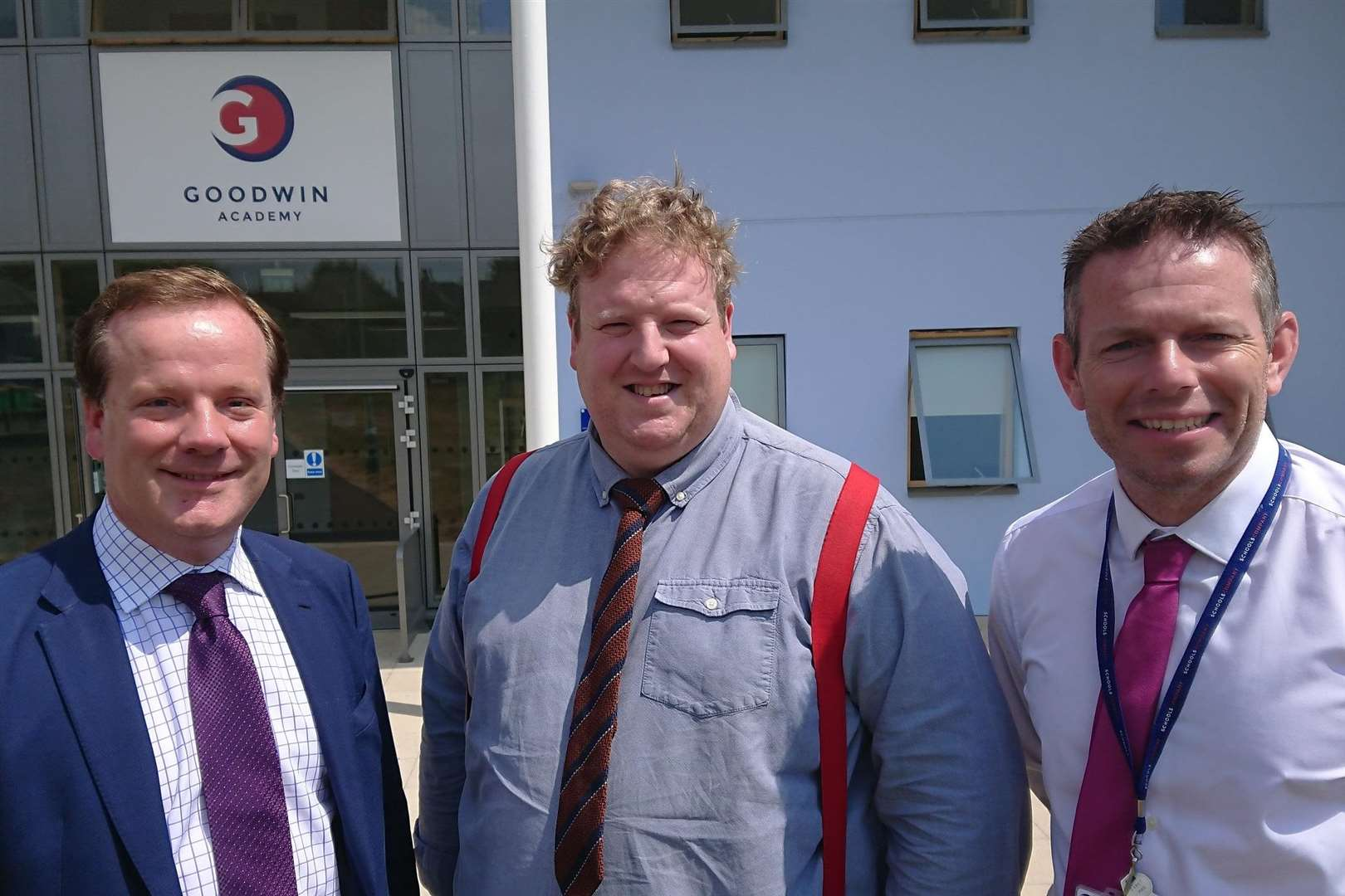 MP Charlie Elphicke with Thinking Schools Academy Trust chief executive Stuart Gardner and principal Simon Smith
