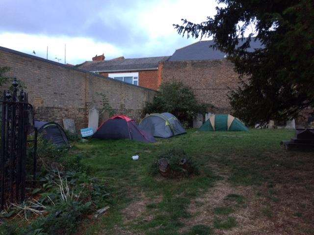 People have been living at the St George's church site for weeks (5168307)