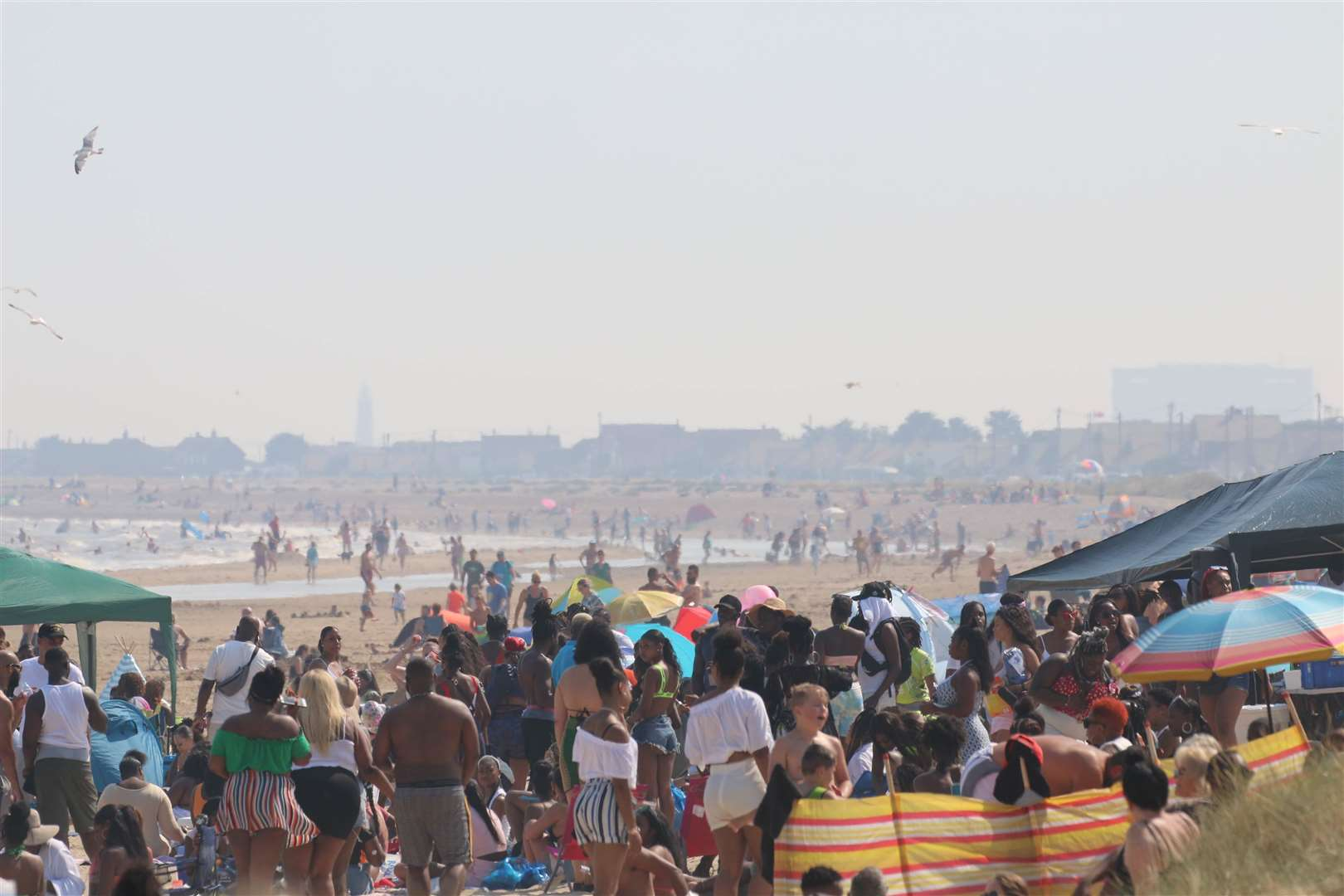 Thousands of people took to Greatstone beach as part of a pre-planned 'beach cookout' on Sunday