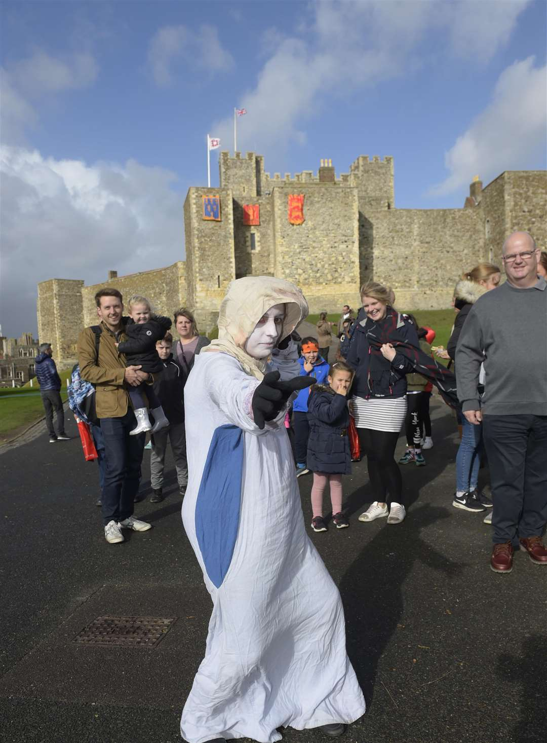 Dover Castle Halloween fun. Vicky Glover as the ghost leads a tour around the castle. Picture: Tony Flashman