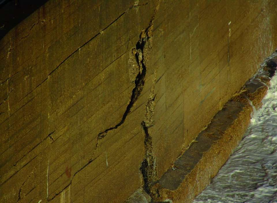 Sizeable cracks can be seen in the wall. Picture: Samphire Hoe